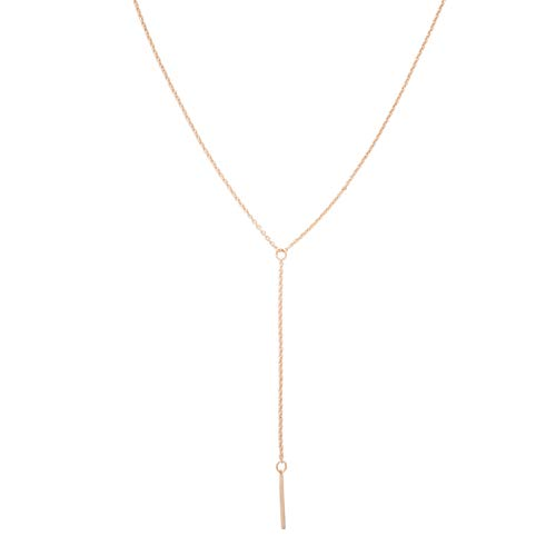 HONEYCAT Lariat Bar Necklace in 18k Rose Gold Plate | Minimalist, Delicate Jewelry (Rose Gold)