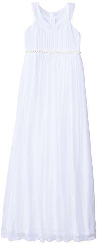Us Angels Big Girls' Crinkle Chiffon Floor Length Dress, White, 8 by US Angels
