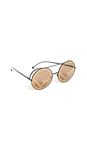 Fendi Women's Round Holographic Sunglasses, Brown/Brown Gold, One Size