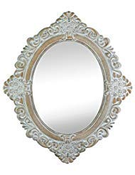 Accent Plus Wall Mirrors Decorative, Oval Large Antique White Wall Mirror For Bathroom