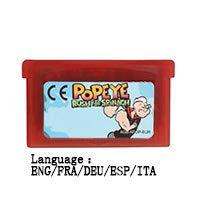 32 Bit Handheld Console Video Game Cartridge Card Popeye Rush for Spinach ENG/FRA/DEU/ESP/ITA Language EU Version Red shell ()