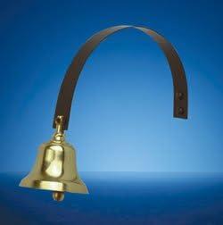 Traditional Brass Shop Door Bell on Black Spring