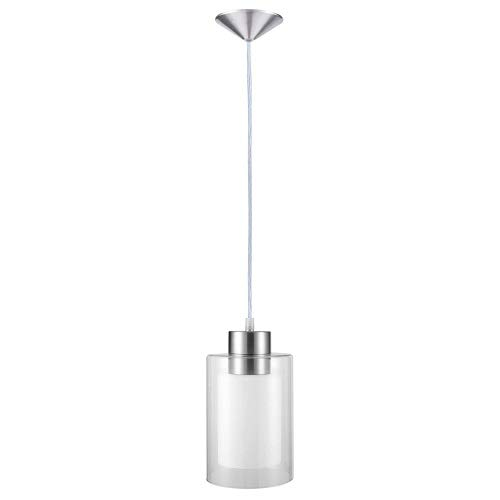 (Pendant Lighting Contemporary Pendant Light Adjustable Single Pendant Hanging Light for Kitchen Island Dining Room Farmhouse with Clear and White Glass Shade Mini Pendant Light Fixture in Satin Nickel)