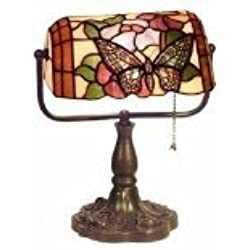 "Warehouse of Tiffany's KS61MB51 Tiffany Style Banker Butterfly Desk Lamp, 10"" x 12.5"" x 16"", Amber"