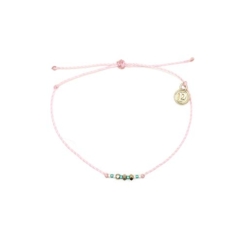 Pura Vida Gold Delicate Seed Bead Sweet Valley Baby Pink Bracelet - Waterproof, Artisan Handmade, Adjustable, Threaded, Fashion Jewelry for Girls/Women