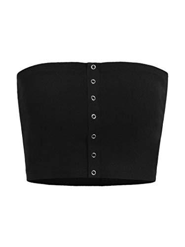 (MAKEMECHIC Women's Strapless Button up Knit Summer Bandeau Tube Crop Top Black M)