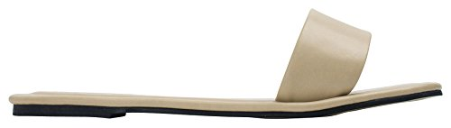 AnnaKastle Womens One Band Flat Slide Sandal Beige QELI6FEOZh