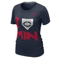 NIKE Minnesota Twins Ladies I Love Slim Fit T-Shirt - Navy Blue (Medium) ()