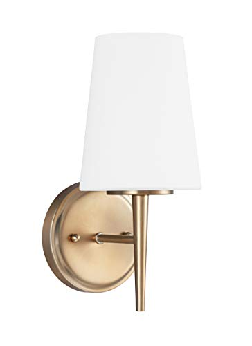 Satin Glass Etched - Front Street Lighting Driscoll One Light Wall or Bath Sconce, Satin Bronze