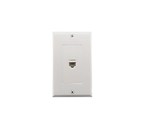 1 Port Cat6 Wall Plate and Keystone,Yomyrayhu,RJ45 Jack Ethernet Connector,Female to Female,White Keystone Style Port Wall Plate