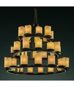 (Justice Design Group CNDL-8716-10-AMBR-DBRZ Dakota 21 Light 1-Tier Chandelier from The CandleAria Collection)