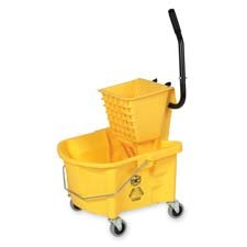 Genuine Joe : Mop Bucket Wringer Combo, 3'' Casters, 26 qt., Yellow -:- Sold as 2 Packs of - 1 - / - Total of 2 Each