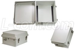 HyperLink NB 14x12x7 Inch Weatherproof NEMA 3R Enclosure with DIN Mounting Rails (non-powered)