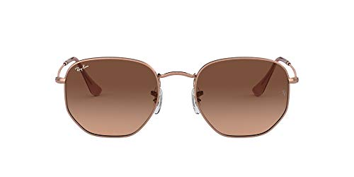 Ray-Ban RB3548N Hexagonal Flat Lenses Sunglasses, Copper/Pink Gradient Brown, 51 mm