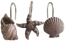 12 PCS Bathroom Seashell Shower Curtain Hooks Rings