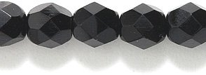 Black Crystal Beads (Preciosa Czech Fire 6 mm Faceted Round Polished Glass Bead, Black, 200-Pack)