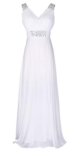 Conail Coco Women Ruched Waist Rhinestone Casual Tulle Semi-Formal Long Wedding Bridesmaid Dress (XXXLarge, 44White)