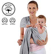 4 in 1 Baby Wrap Carrier and Ring Sling - Charcoal Gray Cotton - Use as a Postpartum Belt and Nursing Cover with Free Carrying Pouch - Best Baby Shower Gift for Boys or Girls ()