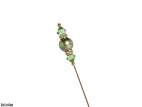 RetroGem Sparkling Elegance Green Crystal Pearl Gold Tone Hat Pin Made with Swarovski Elements Crystal Pearl (Green)