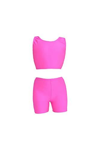 Girls Clothing New 2 Piece - speerise Girls 2-Piece Gymnastics Dance Tank Top with Shorts Activewear Set, Hot Pink, 6X-7
