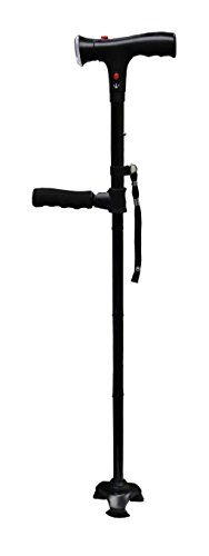 Twin Handled (Intellibrands Clever Cane Twin Grip Walking Stick - Adjustable LED Light, Foldable/Adjustable, 3 Bottom Suction Cups)