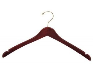 Wooden Curved Top/Coat Hanger, Walnut Finish with Brass Hardware, Box of 100 by The Great American Hanger Company by The Great American Hanger Company
