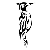 Tatuaje tribal de un incendio sobre el pajaro carpintero, el pvc ...