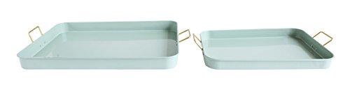 (Bloomingville Sage Green Metal Trays with Handles (Set of)