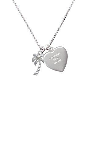 Palm Tree Custom Engraved Heart Locket Necklace ()