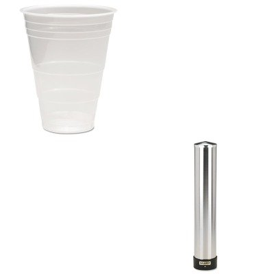 KITBWKTRANSCUP16PKSJMC3400P - Value Kit - Boardwalk Translucent Plastic Hot/Cold Cups (BWKTRANSCUP16PK) and San Jamar Large Water Cup Dispenser w/Removable Cap (SJMC3400P) by Boardwalk