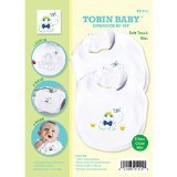 Tobin Baby Frog Soft Touch Bibs Embroidery Kit, Set of 2