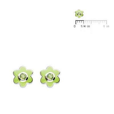 Kids Sterling Silver Simulated Birthstone Flower Stud Earrings For Girls