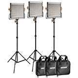 Neewer 3 Packs Dimmable Bi-Color 480 LED Video Light and Stand Lighting Kit Includes: 3200-5600K CRI 96+ LED Panel with U Bracket, 75 inches Light Stand for YouTube Studio Photography, Video Shooting