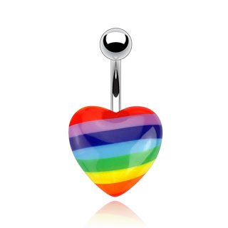 Rainbow 14g Acrylic Heart Navel Belly Ri - Pride Rainbow Button Shopping Results