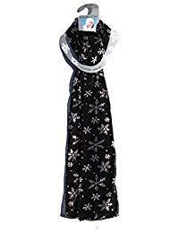 Lavello Designer Scarf, Black W/Silver Snowflakes