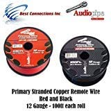 Audiopipe 12 Gauge Wire RED & Black Power Ground 100 FT Each Primary Stranded Copper CLAD 21aGlEUfiCL