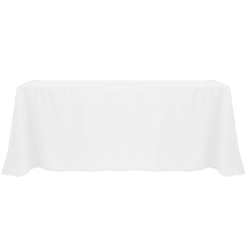 Ultimate Textile -3 Pack- 90 x 132-Inch Rectangular Polyester Linen Tablecloth with Rounded Corners - for Wedding, Restaurant or Banquet use, White