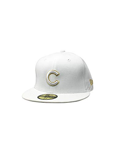 New Era Chicago Cubs Fitted Hat 59Fifty MLB Baseball 5950 Straight Brim Caps (7 3/8, White/Gold Metallic)