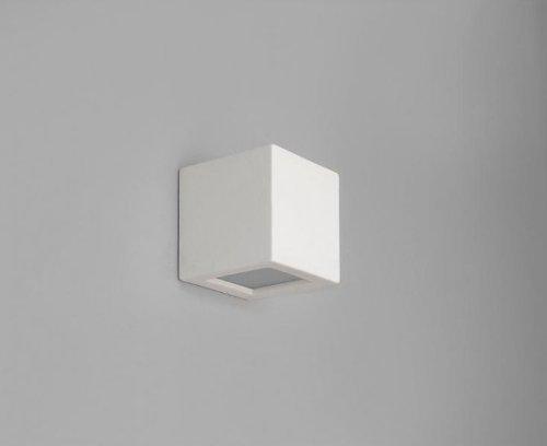 Wandleuchte Gips weiß   1x E27 max. 40Watt 230V   Wandlampe Keramik bemalbar   Lampe quadratisch Beleuchtung Wohnzimmer Cube