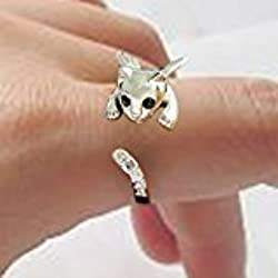 Cat Lovers Kitty Rings Silver-tone, Black, and Gold-tone, Crystal Eyes & Tail Jewelry