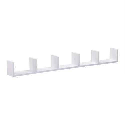Seaside Floating Wall Shelf - Sectionalized Storage - White Finish