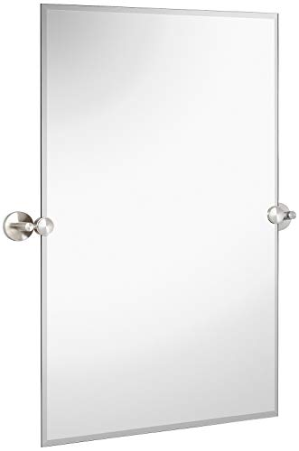 - Hamilton Hills Large Pivot Rectangle Mirror with Brushed Chrome Wall Anchors | Silver Backed Adjustable Moving & Tilting Wall Mirror | 20