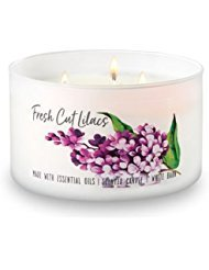 Bath and Body Works White Barn 3 Wick Low Profile Scented Candle Fresh Cut Lilacs 14.5 Ounce with Essential Oils by Bath & Body Works