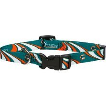 Miami Dolphins Adjustable Pet Dog Collar (Large)