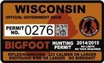"Wisconsin Bigfoot Hunting Permit 2.4"" x 4"" Decal Sticker"