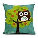Sketch Bird Minerva Rest - Cartoon Owl Print Pillow Home Office Car Cushion - Animated - 1PCs