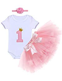 Baby Girls First Birthday Clothes One-Piece Bodysuit 1st Crown Romper+Ruffle Tulle Skirt+Bowknot Headband 3PCS Set Toddler Infant Smash Cake Outfits for Casual Photo Shoot Pink Age 1 Year Old -