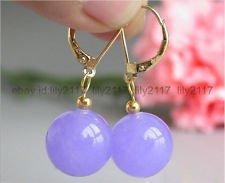 Natural 10mm Lavender Jade Round Gemstone Beads 14K Gold GP Dangle Earrings