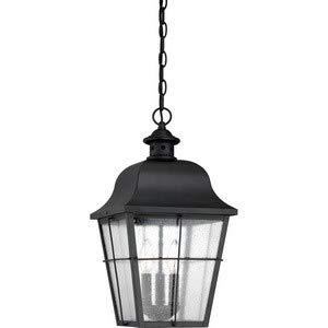 Quoizel MHE1910K Millhouse Seedy Glass Outdoor Pendant Ceiling Lighting, 3-Light, 180 Watts, Mystic Black (19''H x 10''W) by Quoizel
