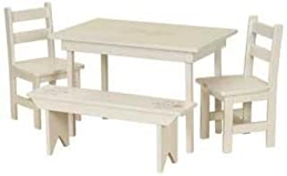 product image for DutchCrafters American Made Maple Wood Kids Dining Table Set (White Paint)